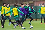 11.02.2020, Trainingsgelaende am wohninvest WESERSTADION,, Bremen, GER, 1.FBL, Werder Bremen Training, im Bild<br /> <br /> Benjamin Goller (Werder Bremen #39)<br /> Milos Veljkovic (Werder Bremen #13)<br /> Ilia Gruev (Werder Bremen #28)<br /> Christian Groß / Gross (Werder Bremen #36)<br /> <br /> <br /> Foto © nordphoto / Kokenge