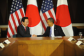 United States President Barack Obama, right, shakes hands with Prime Minister Yoshihiko Noda of Japan, left, Wednesday, September 21, 2011 at United Nations Headquarters in New York, New York..Credit: Aaron Showalter / Pool via CNP