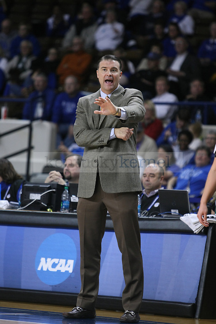 Coach Matthew Mitchell tells his players where to go during the second half of the women UK hoops vs. Northern Kentucky University at Memorial Coliseum. Wednesday, December 3, 2014 in Lexington. Photo by Joel Repoley | Staff