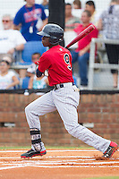 Nick Gordon (9) of the Elizabethton Twins follows through on his swing against the Johnson City Cardinals at Cardinal Park on July 27, 2014 in Johnson City, Tennessee.  The game was suspended in the top of the 5th inning with the Twins leading the Cardinals 7-6.  (Brian Westerholt/Four Seam Images)