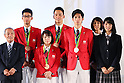 (L-R) <br /> Yoshinobu Miyake, <br /> Hirooki Arai, <br /> Hiromi Miyake, <br /> Takeshi Matsuda, <br /> Maharu Yoshimura, <br /> Mikako Kotani, <br /> Ayaka Mukae, <br /> SEPTEMBER 21, 2016 : <br /> Olympic and Paralympic flags raising ceremony <br /> in Tokyo, Japan.  <br /> (Photo by Yohei Osada/AFLO SPORT)
