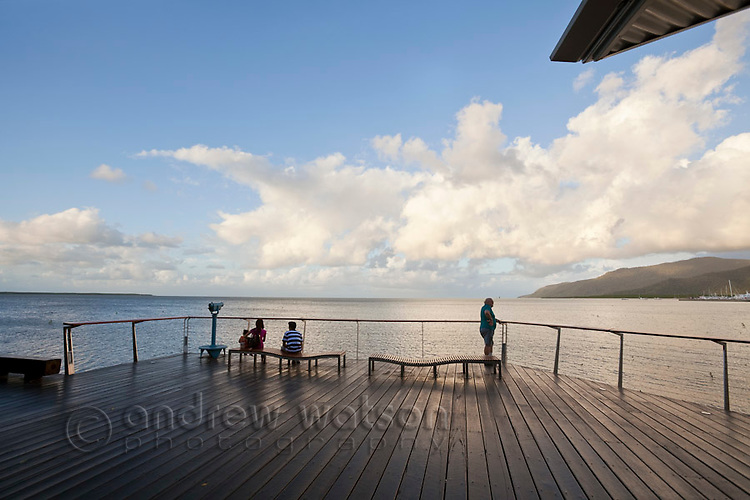 Viewing deck on the Esplanade boardwalk.  Cairns, Queensland, Australia
