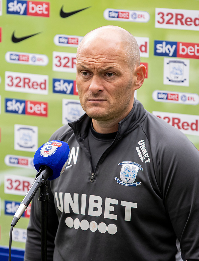 Preston North End's manager Alex Neil is interviewed by the media after the match<br /> <br /> Photographer Andrew Kearns/CameraSport<br /> <br /> The EFL Sky Bet Championship - Preston North End v Nottingham Forest - Saturday 11th July 2020 - Deepdale Stadium - Preston <br /> <br /> World Copyright © 2020 CameraSport. All rights reserved. 43 Linden Ave. Countesthorpe. Leicester. England. LE8 5PG - Tel: +44 (0) 116 277 4147 - admin@camerasport.com - www.camerasport.com
