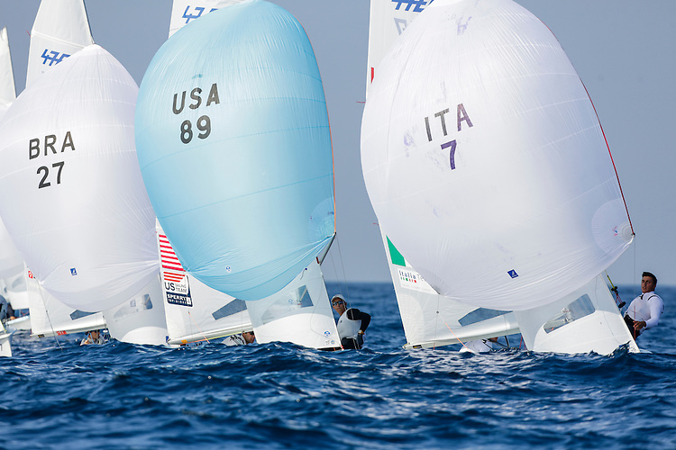 SANTANDER, SPAIN - SEPTEMBER 14:  470 Men - USA89 - Jordan FACTOR / Matthew WEFER in action during Day 3 of the 2014 ISAF Sailing World Championships on September 14, 2014 in Santander, Spain.  (Photo by MickAnderson/SAILINGPIX via Getty Images)