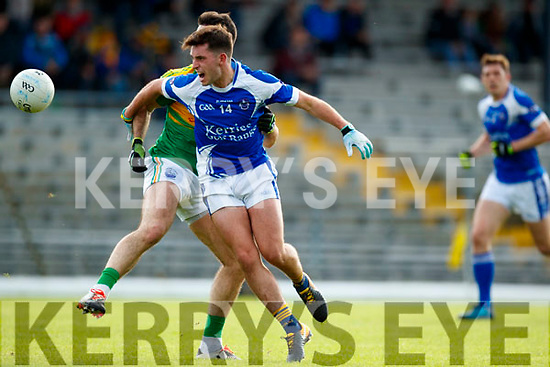 Bryan Sheehan South Kerry in action against Jack Savage Kerins O'Rahillys in the Kerry Senior Football Championship Semi Final at Fitzgerald Stadium on Saturday.