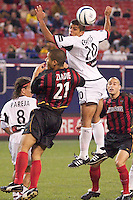 Ronald Cerritos of the Burn and Craig Ziadie of the MetroStars go up for a header in front of the MetroStars goal. Oscar Pareja and Steve Jolley watch as the ball heads towards the corner. The Dallas Burn were defeated by the NY/NJ MetroStars 2-1 on 5/24/03 at Giant's Stadium, East Rutherford, NJ.