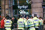 © Joel Goodman - 07973 332324 . No syndication permitted . 01/01/2014 . Manchester , UK . Police outside Tiger Tiger at Manchester's Printworks club venue . Revellers see in the New Year in Manchester today (January 1st 2014) as police report that officers are at full stretch responding to calls . Photo credit : Joel Goodman