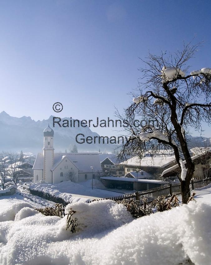 Germany, Bavaria, Upper Bavaria, Werdenfelser Land: winter in Wallgau with Karwendel mountains