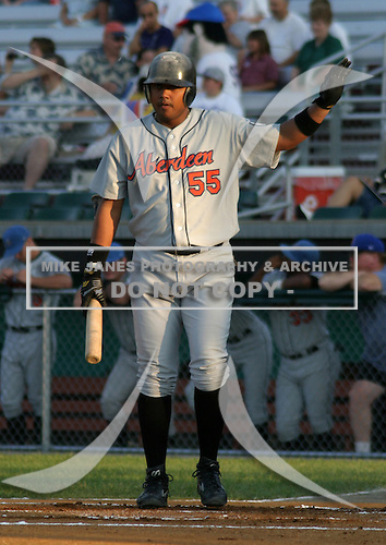 August 16, 2003:  Luis Jimenez of the Aberdeen Ironbirds, Class-A affiliate of the Baltimore Orioles, during a game at Falcon Park in Auburn, NY.  Photo by:  Mike Janes/Four Seam Images