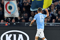 7th November 2019, Rome, Italy; UEFA Europa League football , group stages, Lazio versus Glasgow Celtic;  Ciro Immobile celebrates scoring for Lazio in the 7th minute for 1-0 - Editorial Use