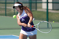 NWA Democrat-Gazette/DAVID GOTTSCHALK  Fayetteville High School's Mary Houston competes Friday, October 6, 2017, in the 7A-West Conference tennis tournament at Springdale Har-Ber High School tennis courts in Springdale. Houston was playing against Rogers High School's Erica Jaggernauth.