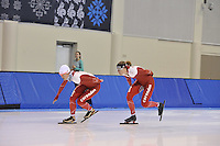 SPEED SKATING: SALT LAKE CITY: 18-11-2015, Utah Olympic Oval, ISU World Cup, training, Marrit Leenstra (NED), Marije Joling (NED), ©foto Martin de Jong