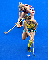 2nd February 2020; Sydney Olympic Park, Sydney, New South Wales, Australia; Womens International FIH Field Hockey, Australia versus Great Britain Women; Greta Hayes of Australia dribbles past Esme Burge of Great Britain