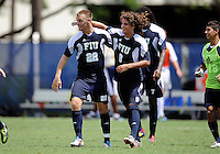 Florida International University men's soccer player Quentin Albrecht (22) celebrates his overtime goal against Stetson University on September 10, 2011 at Miami, Florida.  FIU won the game in overtime 3-2. .