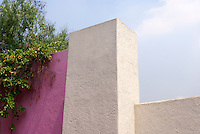 Rooftop walls of the Casa Luis Barragan house museum in Mexico City