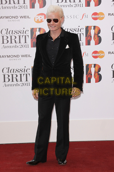 RHYDIAN ROBERTS.Arriving to the Classical Brit Awards 2011 at the Royal Albert Hall, London, England, UK, 12th May 2011..arrivals brits full length black suit velvet jacket sunglasses .CAP/AH.©Adam Houghton/Capital Pictures.