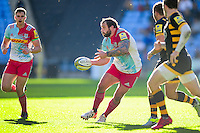 Joe Marler of Harlequins passes the ball. Aviva Premiership match, between Wasps and Harlequins on October 2, 2016 at the Ricoh Arena in Coventry, England. Photo by: Patrick Khachfe / JMP