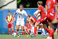 26 September 2010:  FIU's Mayara da Fonseca Bordin (9) moves the ball upfield in the second half as the FIU Golden Panthers defeated the Arkansas State Red Wolves, 1-0 in double overtime, at University Park Stadium in Miami, Florida.