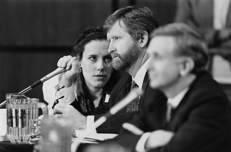 Leslie Burger (lawyer as the same firm as Taylor), William W. Taylor, III, (counsel for Sen. Alan Cranston, D-Calif.), and James Hamilton (counsel for Sen. Dennis DeConcini, D-Ariz.,) on Nov. 16, 1990. (Photo by Laura Patterson/CQ Roll Call via Getty Images)