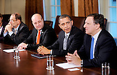 Washington, DC - November 3, 2009 -- (Left to Right) European Council High Representative Javier Solana ,Prime Minister of Sweden Fredrik Reinfeldt, United States President Barack Obama and President of the European Commission JosÈ Manuel Barroso participate in the U.S.-European Union Summit in the Cabinet Room at the White House, Tuesday, November 3, 2009 in Washington, DC..Credit: Olivier Douliery / Pool via CNP