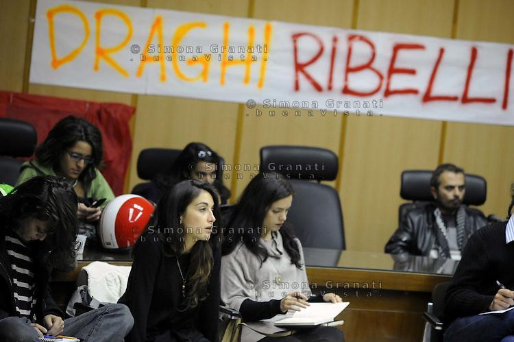 """Roma, 4 novembre 2011.Università """"La Sapienza"""".Assemblea dei """"draghi ribelli"""" per decidere le prossime azioni in previsione della mobilitazione del 11/11/11"""