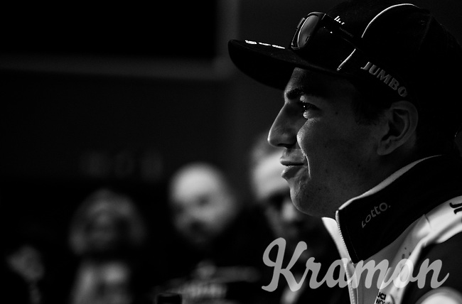 Dylan Groenewegen (NED/LottoNL-Jumbo) at the post-race press conference after winning the 70th Kuurne-Brussel-Kuurne (2018)<br /> <br /> Kuurne › Kuurne: 200km (BELGIUM)