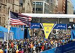(Boston Ma 042014) A huge crowd gather around the finish line on Boylston Street in Boston Sunday, April 20, 2014, the day before the Boston Marathon. (Jim Michaud Photo) For Sunday