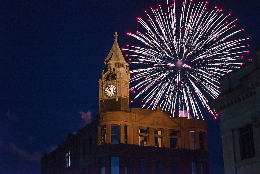 Fireworks in downtown Marquette, Michigan on the Fourth of July.