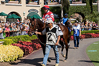 DEL MAR, CA  SEPTEMBER 1: #2 Brill, ridden by Drayden Van Dyke, in the paddock before the Del Mar Debutante (Grade 1) on September 1, 2018, at Del Mar Thoroughbred Club in Del Mar, CA.(Photo by Casey Phillips/Eclipse Sportswire/Getty ImagesGetty Images