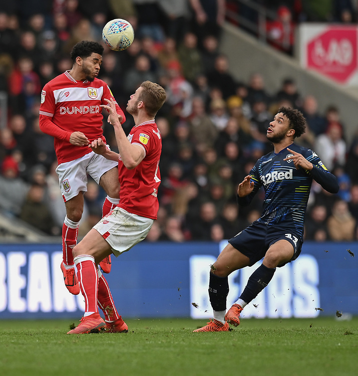 Leeds United's Tyler Roberts (right) & Bristol City's Eros Pisano (left) <br /> <br /> Photographer David Horton/CameraSport<br /> <br /> The EFL Sky Bet Championship - Bristol City v Leeds United - Saturday 9th March 2019 - Ashton Gate Stadium - Bristol<br /> <br /> World Copyright © 2019 CameraSport. All rights reserved. 43 Linden Ave. Countesthorpe. Leicester. England. LE8 5PG - Tel: +44 (0) 116 277 4147 - admin@camerasport.com - www.camerasport.com