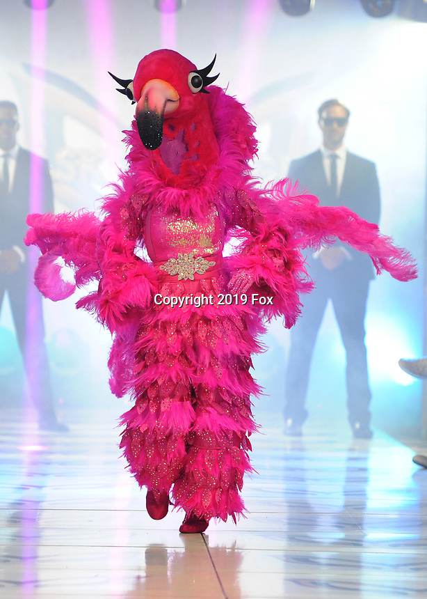 "BEVERLY HILLS - SEPTEMBER 10:  Flamingo at the Season two premiere event for FOX's ""The Masked Singer"" at The Bazaar at the SLS Beverly Hills on September 10, 2019 in Beverly Hills, California. (Photo by Scott Kirkland/FOX/PictureGroup)"
