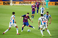 8th July 2020; Camp Nou, Barcelona, Catalonia, Spain; La Liga Football, Barcelona versus Espanyol; Barca's Lionel Messi takes on Vila and Roca of Espanyol during the Spanish league football match