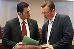 Nevada Sens. Ruben Kihuen, D-Las Vegas, left, and Ben Kieckhefer, R-Reno, work on the Senate floor at the Legislative Building in Carson City, Nev., on Monday, April 22, 2013. .Photo by Cathleen Allison