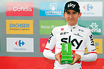 Polish National Champion Michal Kwiatkowski (POL) Team Sky wins the days combativity award on the podium at the end of Stage 14 of the La Vuelta 2018, running 171km from Cistierna to Les Praeres, Nava, Spain. 8th September 2018.<br /> Picture: Unipublic/Photogomezsport | Cyclefile<br /> <br /> <br /> All photos usage must carry mandatory copyright credit (&copy; Cyclefile | Unipublic/Photogomezsport)