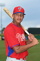 Philadelphia Phillies infielder Arquimedez Gamboa (30) poses for a photo after an Instructional League game against the New York Yankees on September 23, 2014 at the Bright House Field in Clearwater, Florida.  (Mike Janes/Four Seam Images)