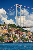The Fatih Sultan Mehmet Bridge, also known as the Second Bosphorus Bridge Istanbul Turkey