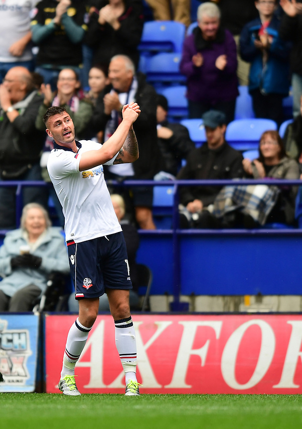 Bolton Wanderers's Gary Madine celebrates scoring his sides equalising goal to make the score 1-1<br /> <br /> Photographer Chris Vaughan/CameraSport<br /> <br /> Football - The EFL Sky Bet League One - Bolton Wanderers v Fleetwood Town - Saturday 20 August 2016 - Macron Stadium - Bolton<br /> <br /> World Copyright &copy; 2016 CameraSport. All rights reserved. 43 Linden Ave. Countesthorpe. Leicester. England. LE8 5PG - Tel: +44 (0) 116 277 4147 - admin@camerasport.com - www.camerasport.com