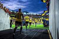The Hurricanes run out for the Super Rugby match between the Hurricanes and Crusaders at Westpac Stadium in Wellington, New Zealand on Friday, 29 March 2019. Photo: Dave Lintott / lintottphoto.co.nz