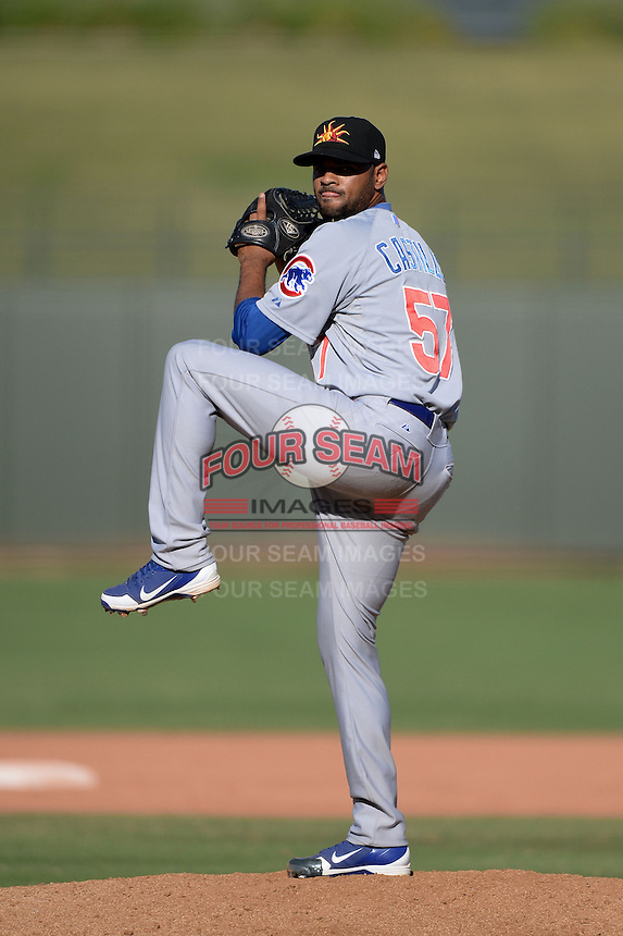 Mesa Solar Sox pitcher Lendy Castillo (57), of the Chicago Cubs organization, during an Arizona Fall League game against the Peoria Javelinas on October 16, 2013 at Surprise Stadium in Surprise, Arizona.  Mesa defeated Peoria 3-1.  (Mike Janes/Four Seam Images)