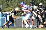 Palos Verdes, CA 09/24/10 - Conner Preston (Serra #11), Walt Proenca (Peninsula #56) and Jin Matsumoto (Peninsula #40)  in action during the Serra-Peninsula varsity football game at Peninsula High School.