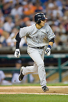 Ramiro Pena #19 of the New York Yankees hustles down the first base line versus the Detroit Tigers at Comerica Park April 27, 2009 in Detroit, Michigan.  Photo by Brian Westerholt / Four Seam Images