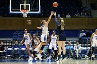 DURHAM, NC - JANUARY 16: Danielle Cosgrove #22 of Notre Dame University shoots over Haley Gorecki #2 of Duke University during a game between Notre Dame and Duke at Cameron Indoor Stadium on January 16, 2020 in Durham, North Carolina.