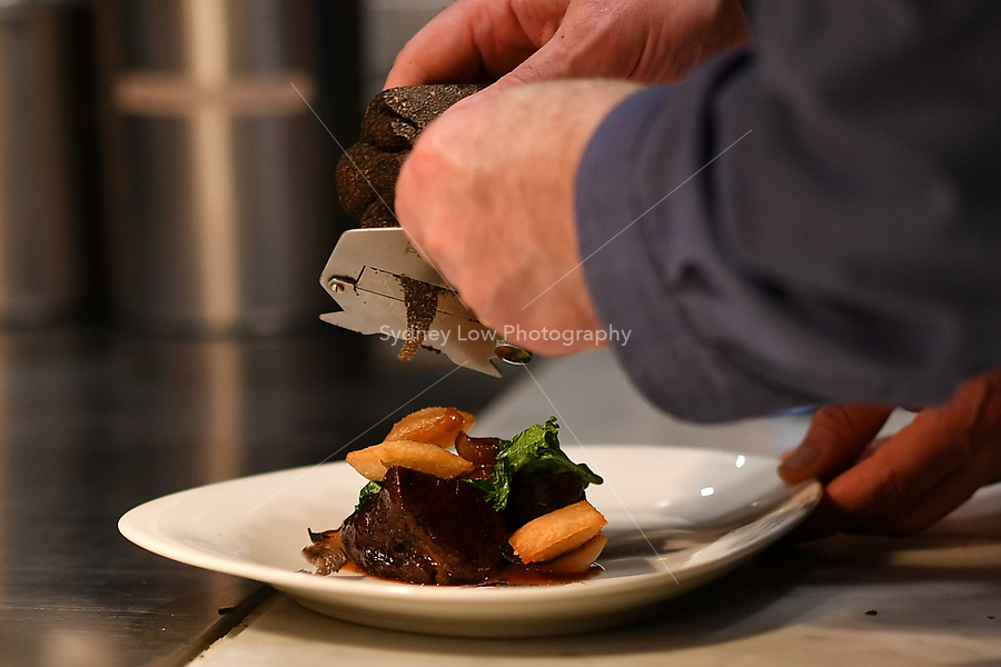 MELBOURNE, 30 June 2017 – Philippe Mouchel shaves a truffle at a dinner celebrating his 25 years in Australia with six chefs who worked with him in the past at Philippe Restaurant in Melbourne, Australia.