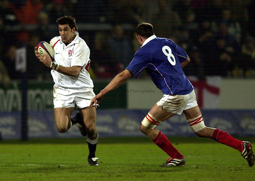 Photo. Richard Lane.England A v France A at Franklin Gardens, Northampton. 14/02/2003.Alex Sanderson attacks.