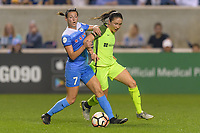 Bridgeview, IL - Wednesday August 16, 2017: Taylor Comeau, Kiersten Dallstream during a regular season National Women's Soccer League (NWSL) match between the Chicago Red Stars and the Seattle Reign FC at Toyota Park. The Seattle Reign FC won 2-1.
