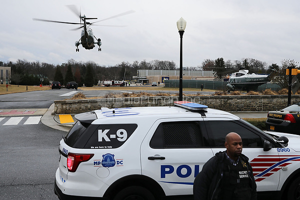 With United States President Donald J. Trump on board, Marine One lifts off from Walter Reed National Military Medical Center following the president's annual physical examination January 12, 2018 in Bethesda, Maryland. Trump will next travel to Florida to spend the Dr. Martin Luther King Jr. Day holiday weekend at his Mar-a-Lago resort. <br /> Credit: Chip Somodevilla / Pool via CNP /MediaPunch