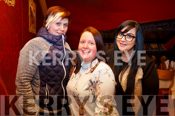 Carmel Roth, Susan Houlihan and Dawn Rodgers from Tralee enjoying the Womens Little Christmas in the Bella Bia Restaurant on Saturday night.
