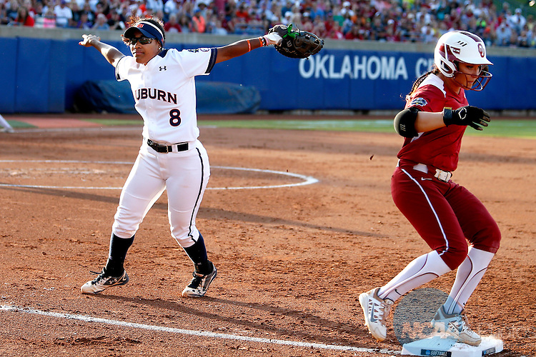 07 JUNE 2016:  Auburn first baseman Jade Rhodes (8) reacts during the Division I Women's Softball Championship is held at ASA Hall of Fame Stadium in Oklahoma City, OK.  Shane Bevel/NCAA Photos