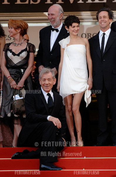"Actress AUDREY TAUTOU with actor SIR IAN McKELLEN (left) and producer BRIAN GRAZER at the gala screening of ""The Da Vinci Code"" at the 59th Annual International Film Festival de Cannes..May 17, 2006  Cannes, France..© 2006 Paul Smith / Featureflash"