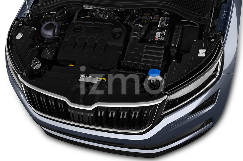 Car Stock 2017 Skoda Kodiaq Style 5 Door SUV Engine  high angle detail view